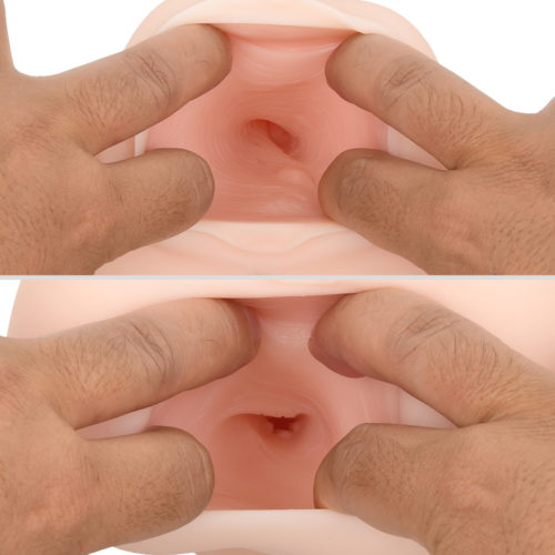 The two holes each have a unique interior. You can enjoy the lifelike, natural stimulations in each hole.