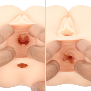 The vaginal hole which weaves up and down allows you to experience true-to-life insertion; as if you are actually wedging in through. The anus hole is more linear and becomes tighter towards the end.