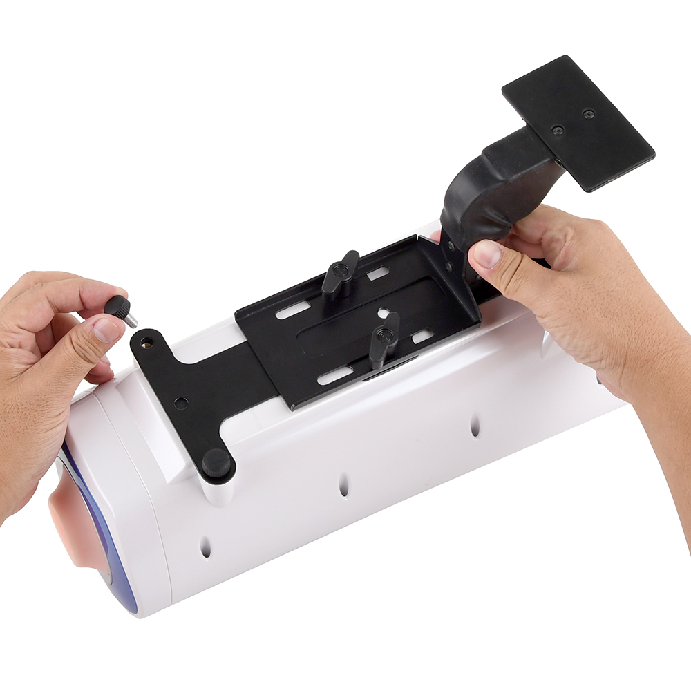 [Step 1] Flip your VORZE machine and attach the surface of the stand by aligning the holes and using the screws. The A10 PISTON SA has three screw holes, and the A10 CYCLONE SA +PLUS has two holes for holding the machine in place.