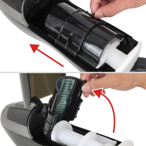 【ホール脱着手順3】インナーカップの固定カバーをOPENの方向へスライドさせ、インナーカップを開きます。