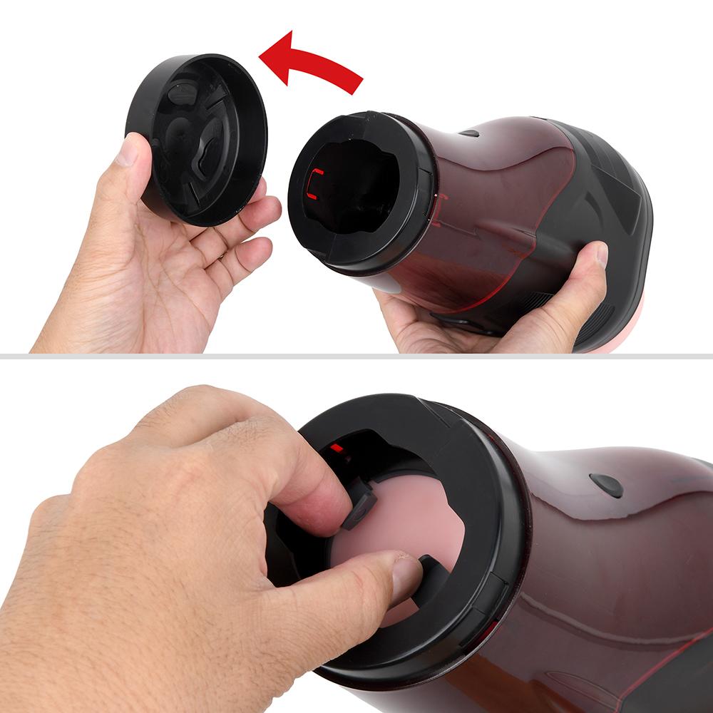 【ホール脱着手順1】前後のキャップを外し、インナーカップを底部まで押し下げてから、ツマミでロックを外します。