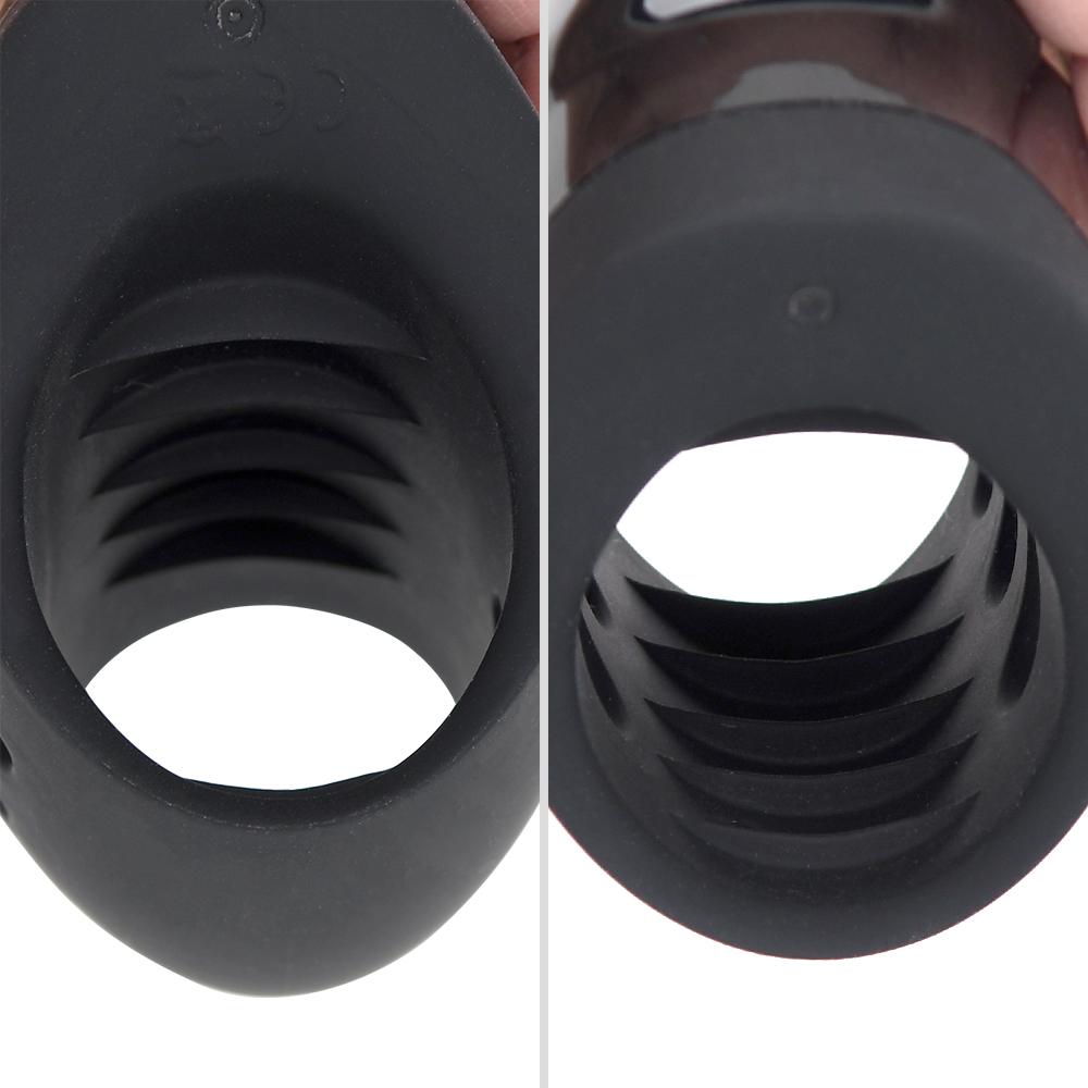 穴の内側にはカサ高のヒダが上下に並びます。強い摩擦感を生むと同時に、ホールド性にも貢献しています。
